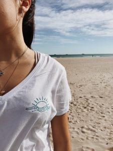 Vida azul playa mujer